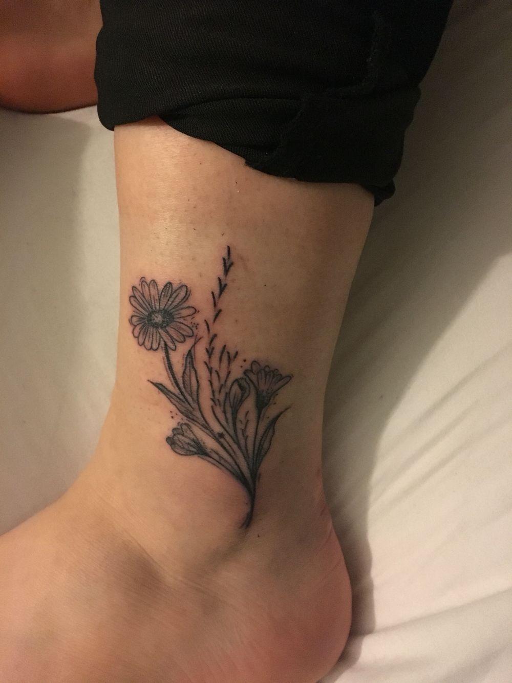 Pretty Wild Flower Ankle Tattoo Flower Tattoo On Ankle Ankle Tattoo Tattoos
