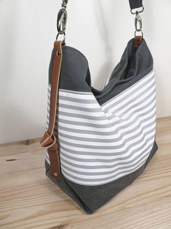 Gewachste Leinwand Windel Tasche, Messenger und Laptop-Tasche, personalisierte Tasche, Marina Nr. 2 grau