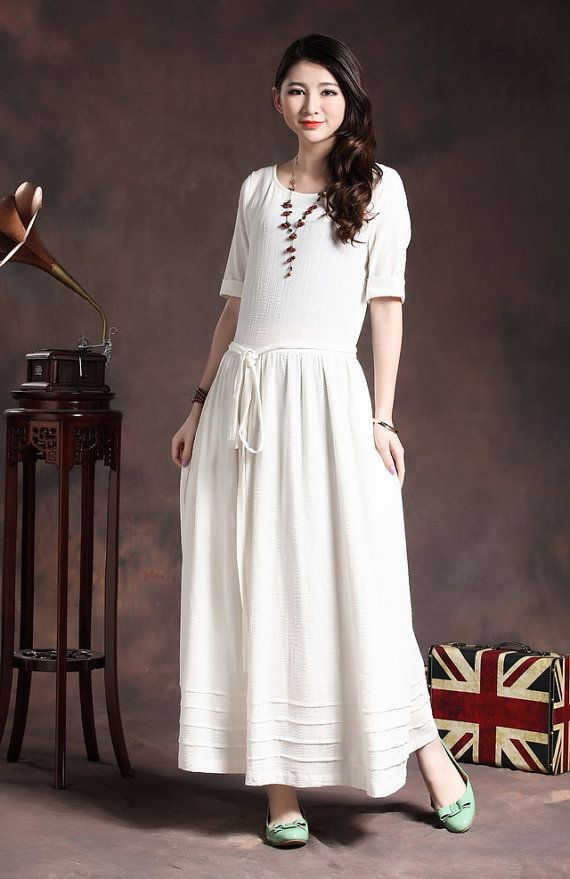 Awesome White Dress / Long Linen Dress / Wedding Dress By Camelliatune, $89.00