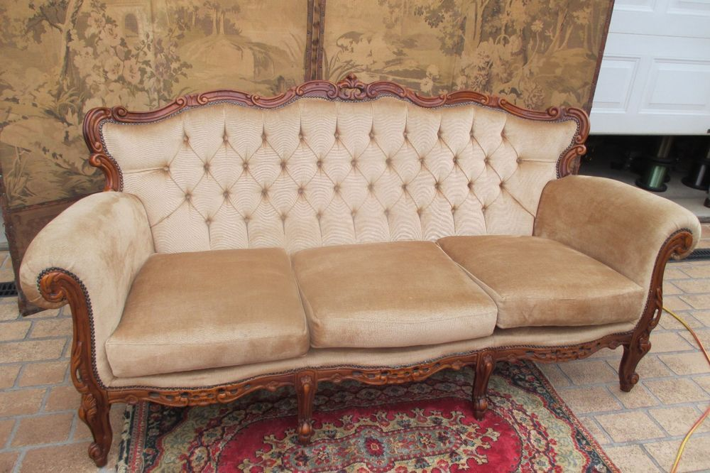 Vintage Carved Baroque French Louis 3 Seater Chesterfield Lounge - barock mobel versailles sofa
