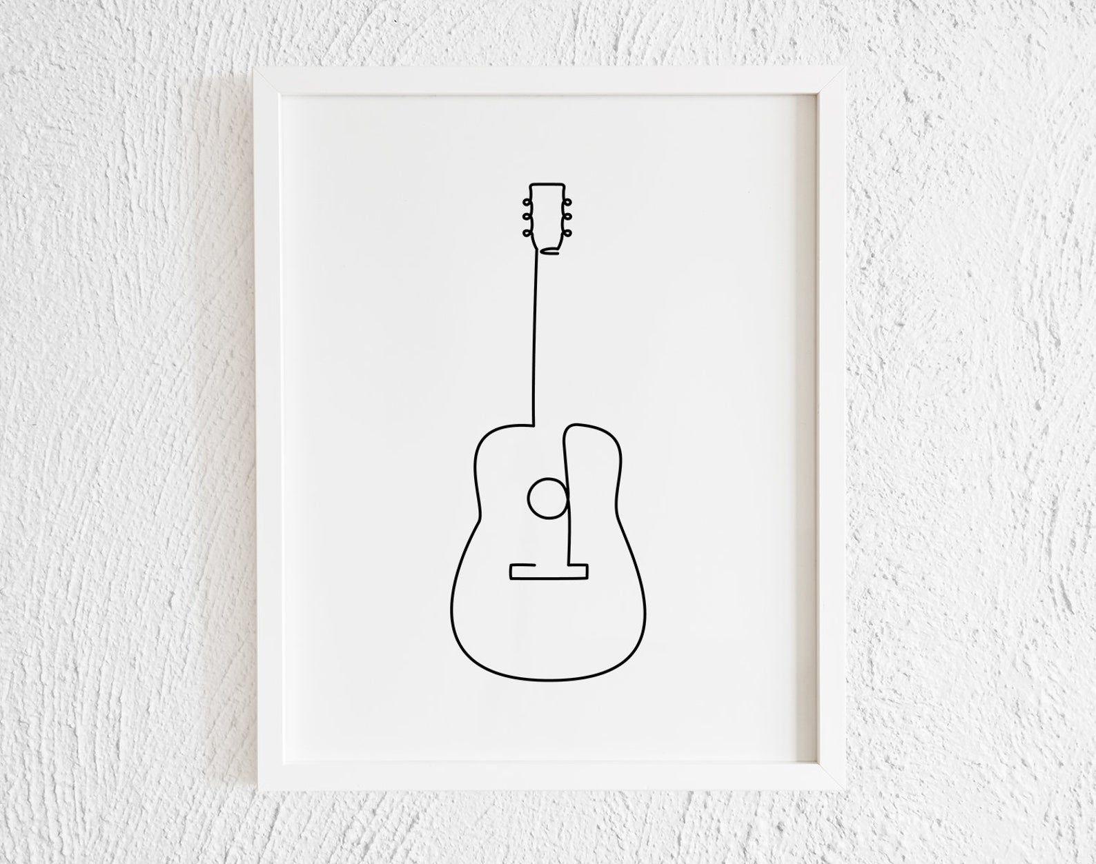 Guitar Drawing Print Printable Minimalist Guitar Doodle Wall Decor Modern Music Doodle Wall Guitar Doodle Guitar Drawing