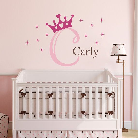 Personalized Wall Decal Large Princess Decal with Initial and Butterflies Initial Girls Name Princess Decal Set