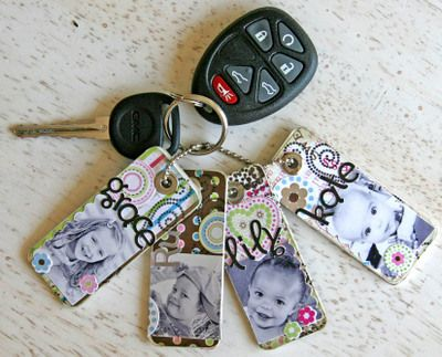 Scrapbook Keychains!  I love how she made one for each of her children.  What a great gift idea for a grandparent!