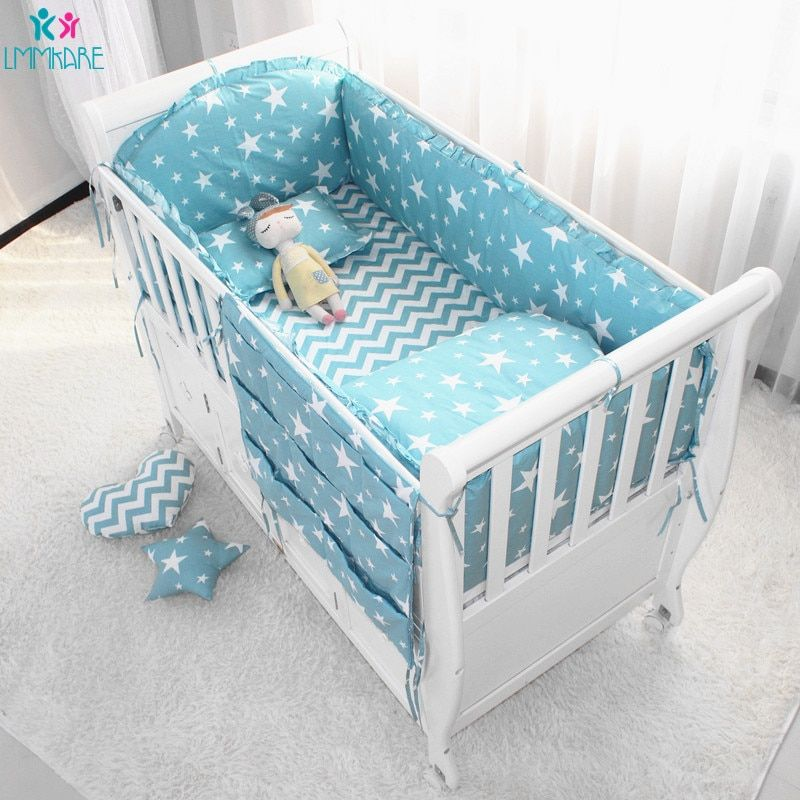 Cotton Breathable Baby Crib Bumper Pads Crib Liner Cot Sets For Baby Boys Girls Safe Bumper Sheet Guards Cr Baby Crib Bumpers Bumper Pads For Cribs Crib Liners