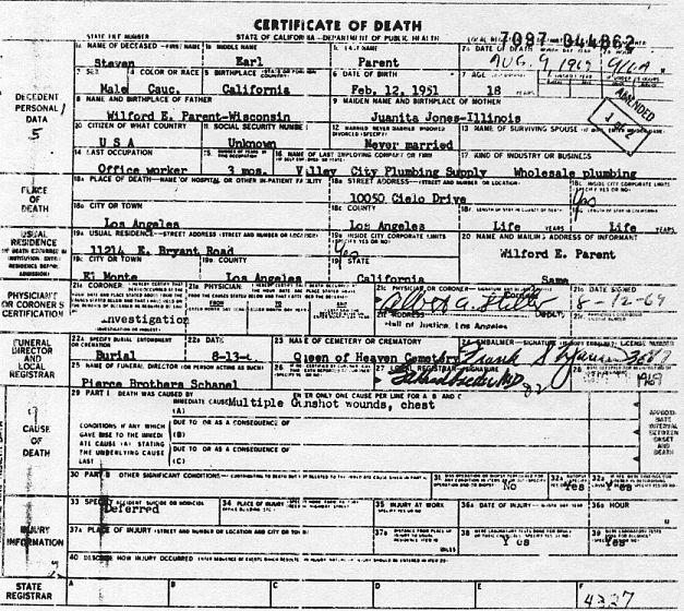 steven parent death certificate 10050 cielo drive
