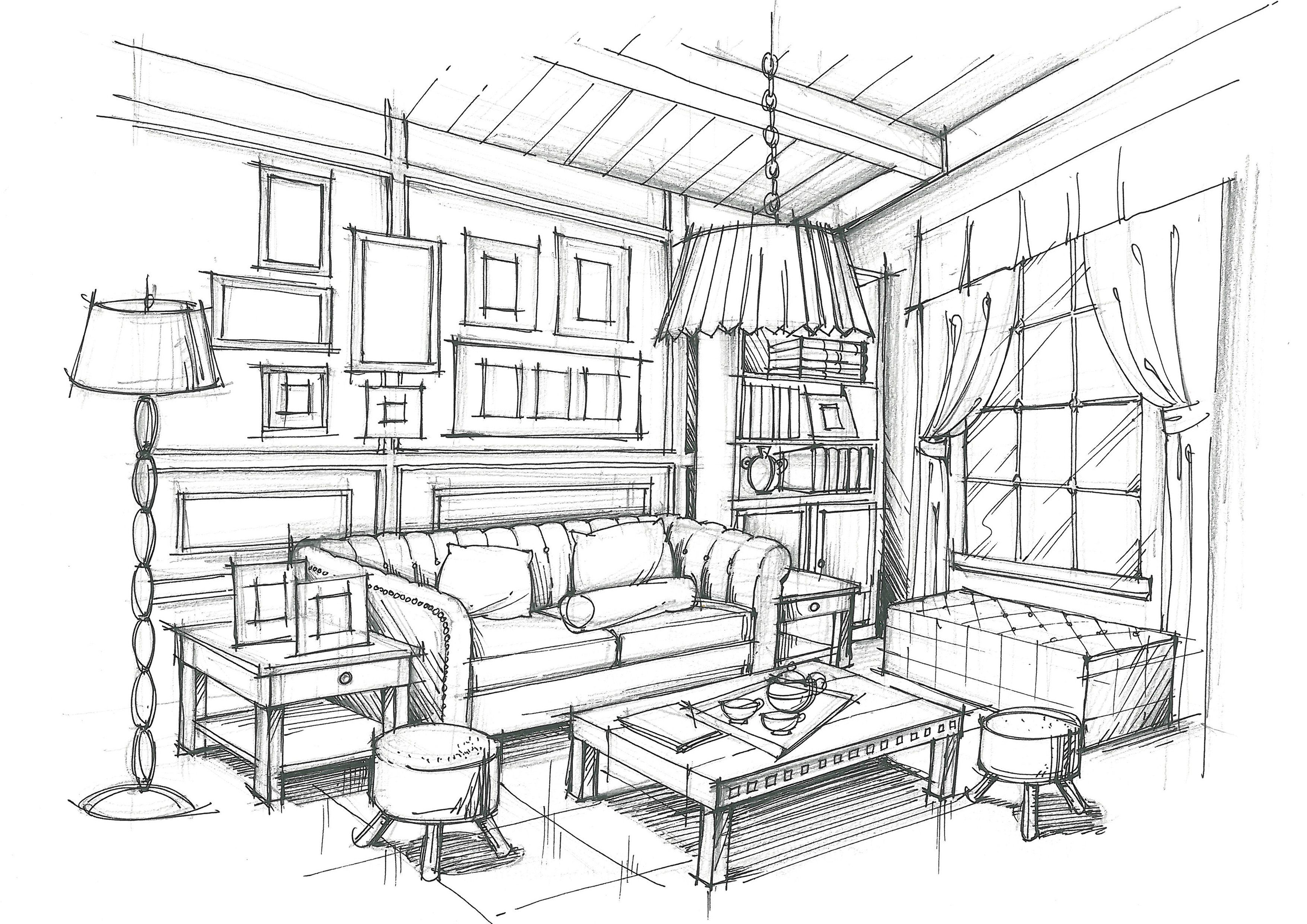 Living room room ideas interior design sketches room - One point perspective living room sketch ...