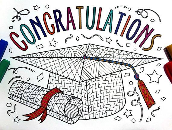 Congratulations Graduate Pdf Zentangle Coloring Page Congratulations Graduate Graduation Drawing School Coloring Pages