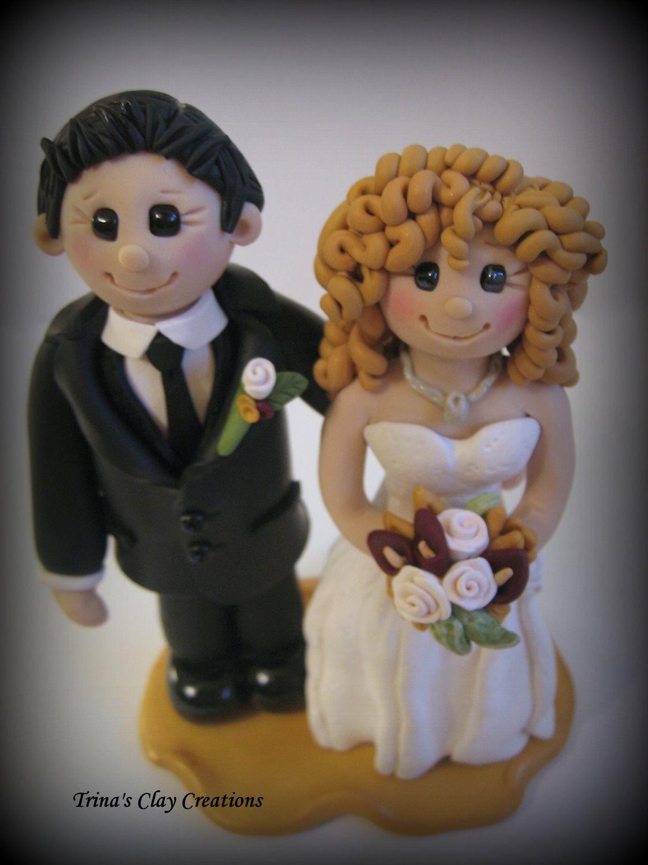 Wedding cake topper custom wedding topper by trinasclaycreations