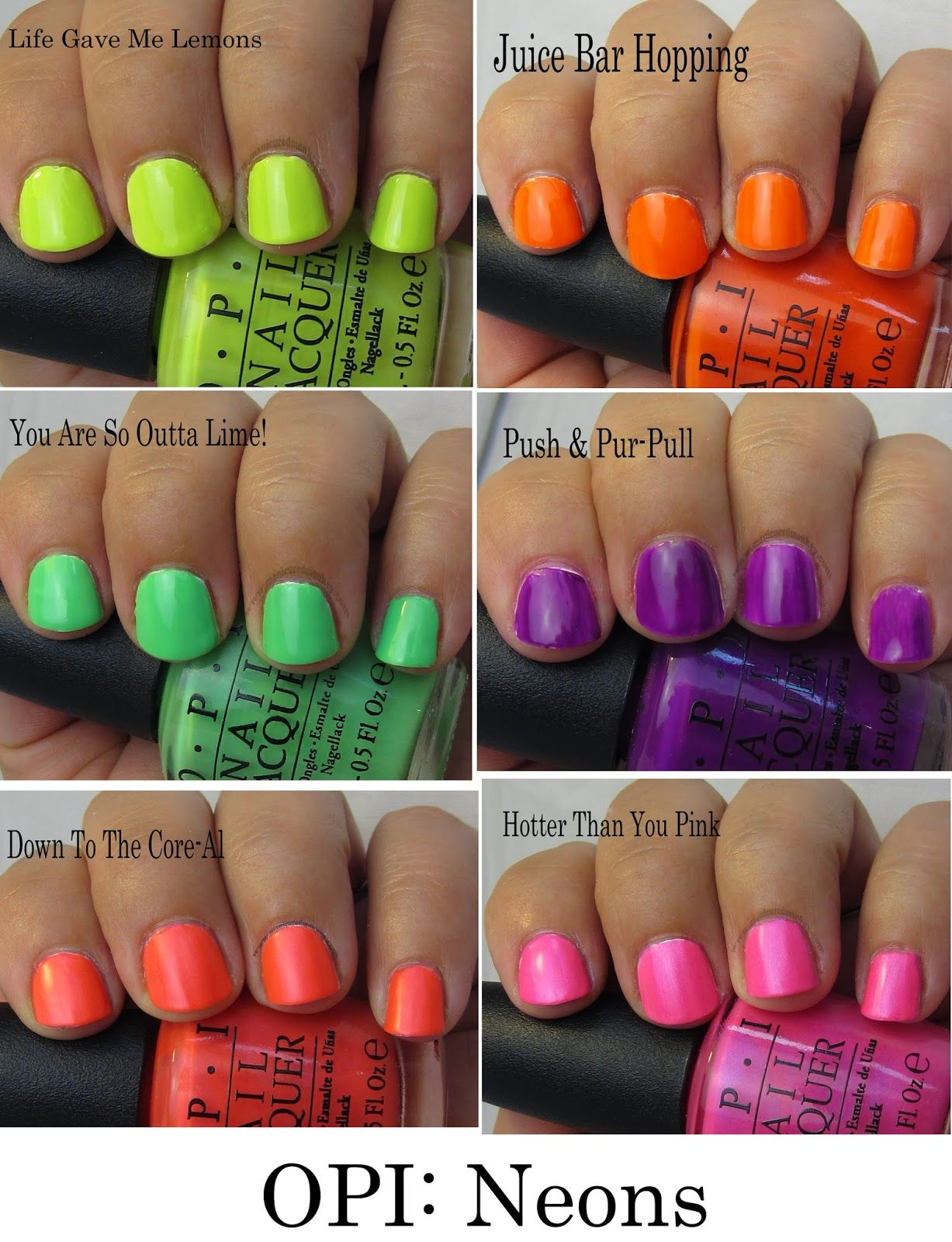 Opi Neons Swatches With Images Opi Nail Colors Neon Gel