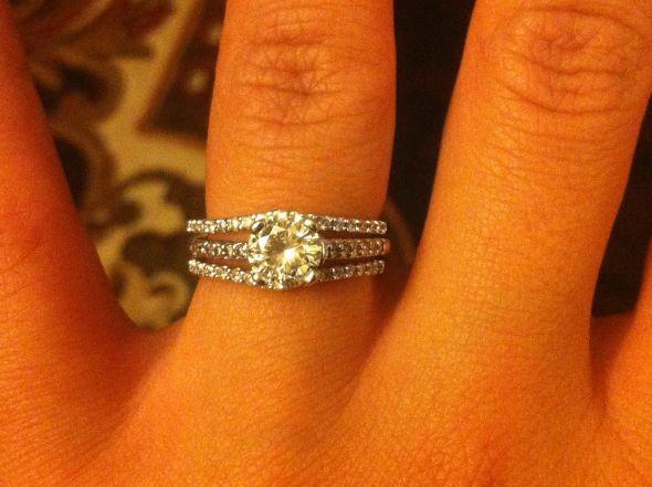 I like how the wedding band wraps around the engagement ring