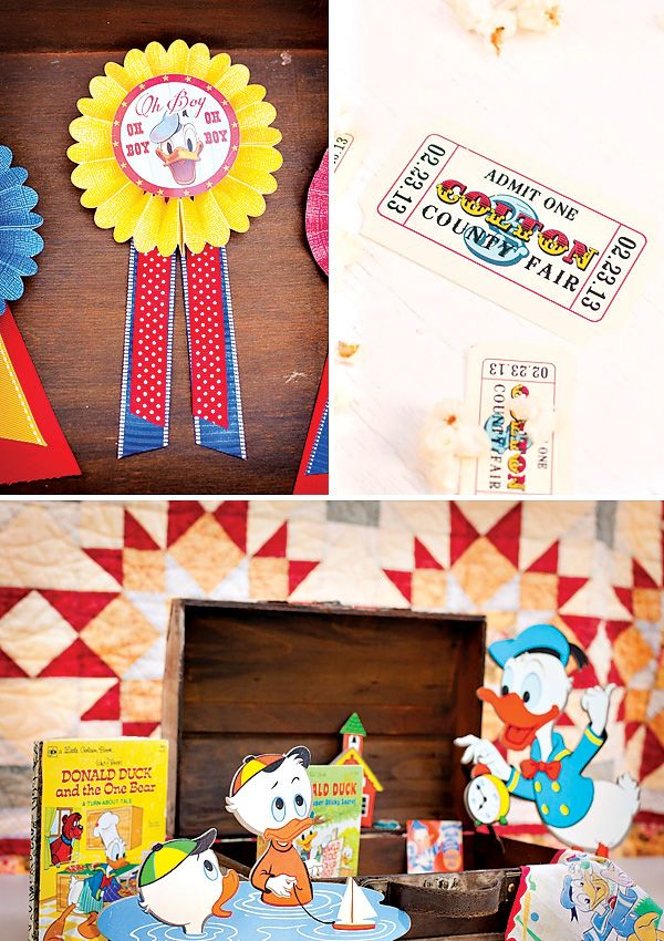 Vintage Donald Duck Inspired County Fair {3rd Birthday} Actually like use of characters