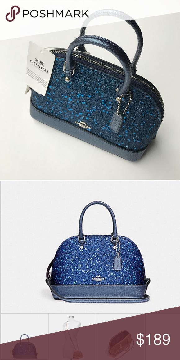 Coach Blue Ultra Mini Glitter CrossBody Glitter leather Zip closure, fabric  lining Handles with 2 1 4