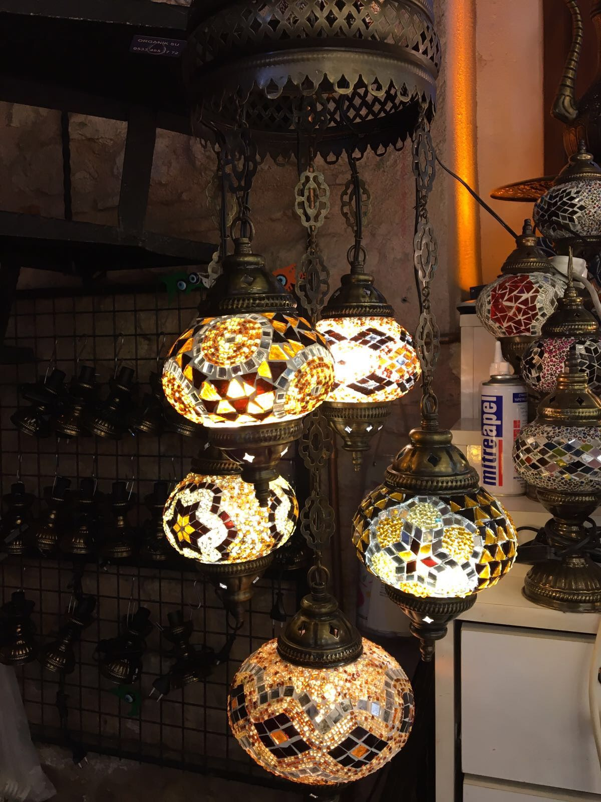 TURKISH MOSAIC CHANDELIER 5 LAMPS