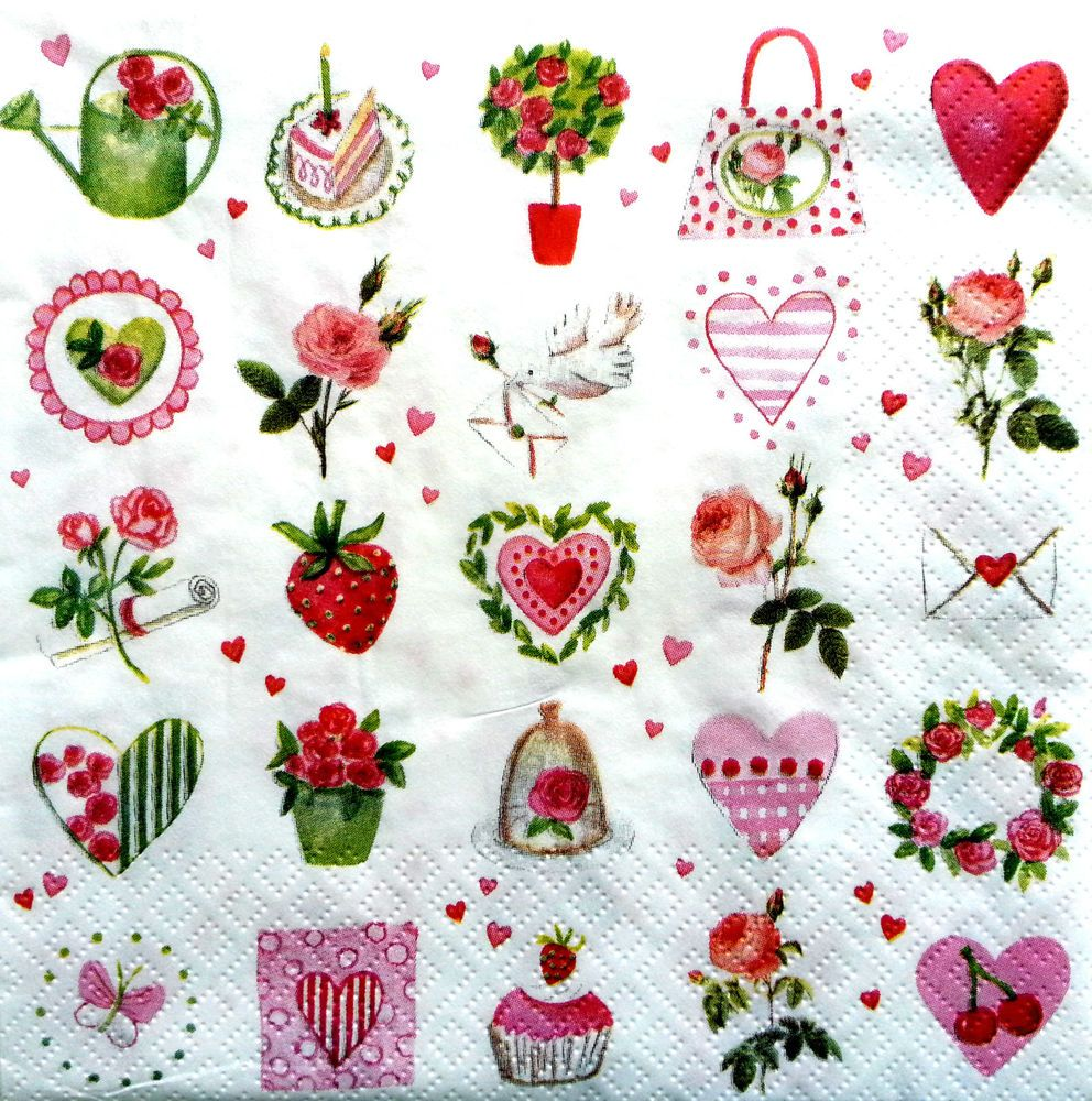 4 Single Vintage Table Paper Napkins for Decoupage Lunch Decopatch Herbs