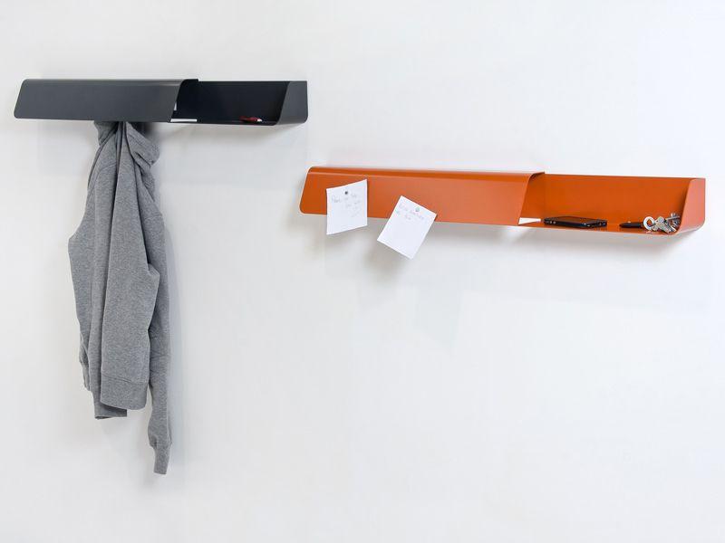 étagère Murale Design En Acier, Porte-manteau Et Vide-poches 3 En 1