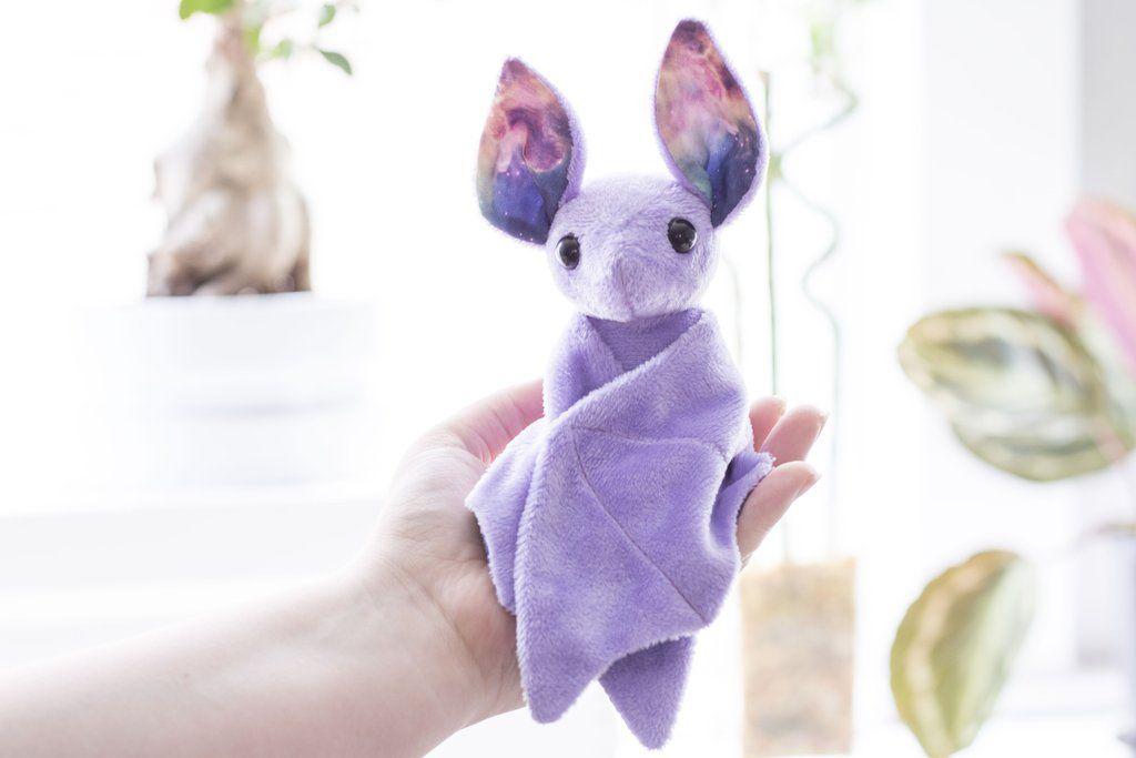 Purple Galaxy Bat Stuffed Animal, Plush Toy, Bat Plushie