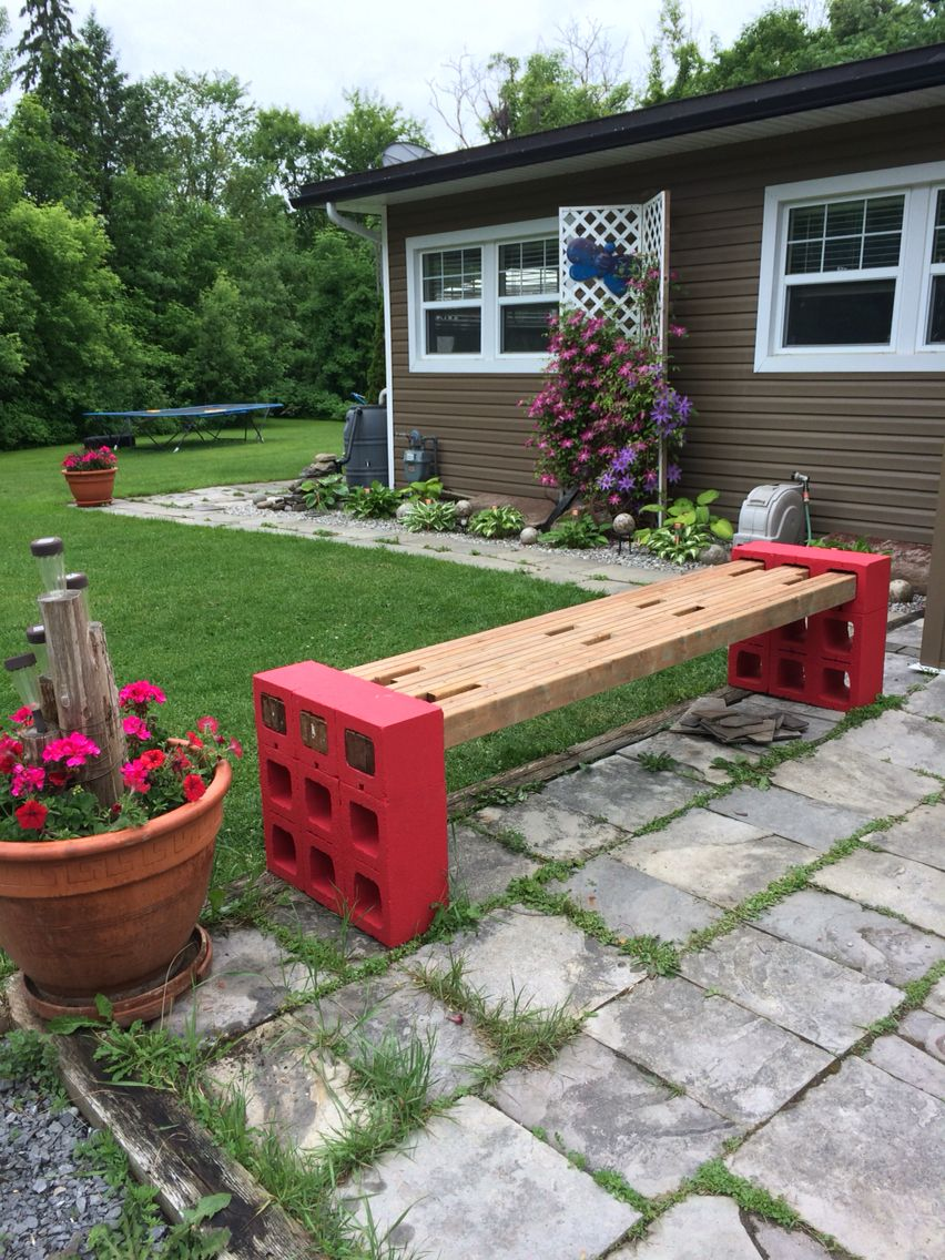 Concrete block bench, using 2x4 sandwiched together instead of 4x4