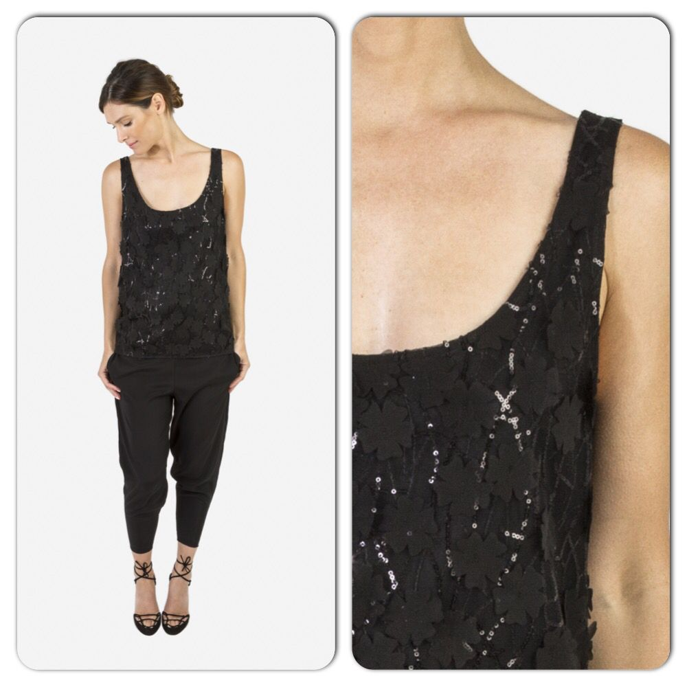 Lace tank and stretchy seamless silk pants
