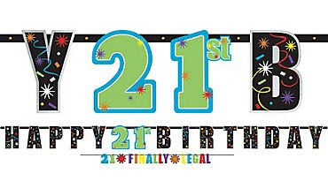 Brilliant 21st Birthday Banners 2ct Party City
