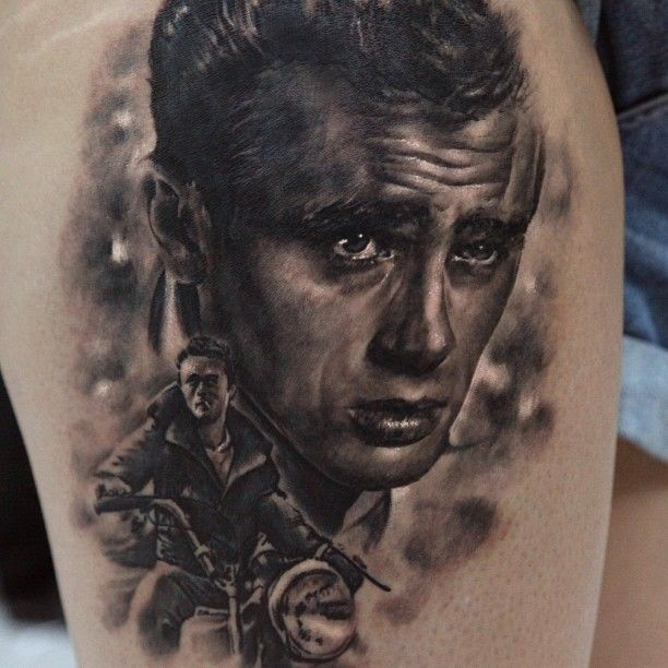 Very Cool James Dean Tattoo by Seunghyun Jo