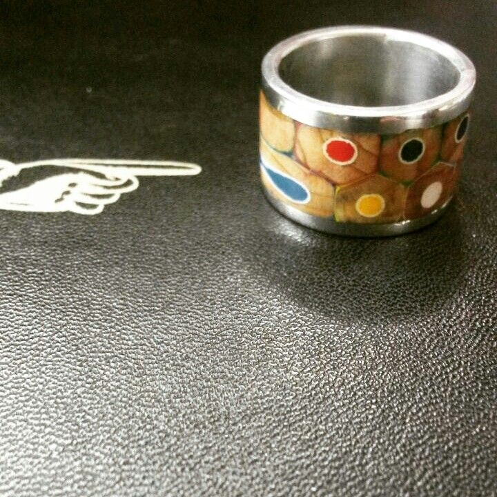 Color pencil and pewter ring