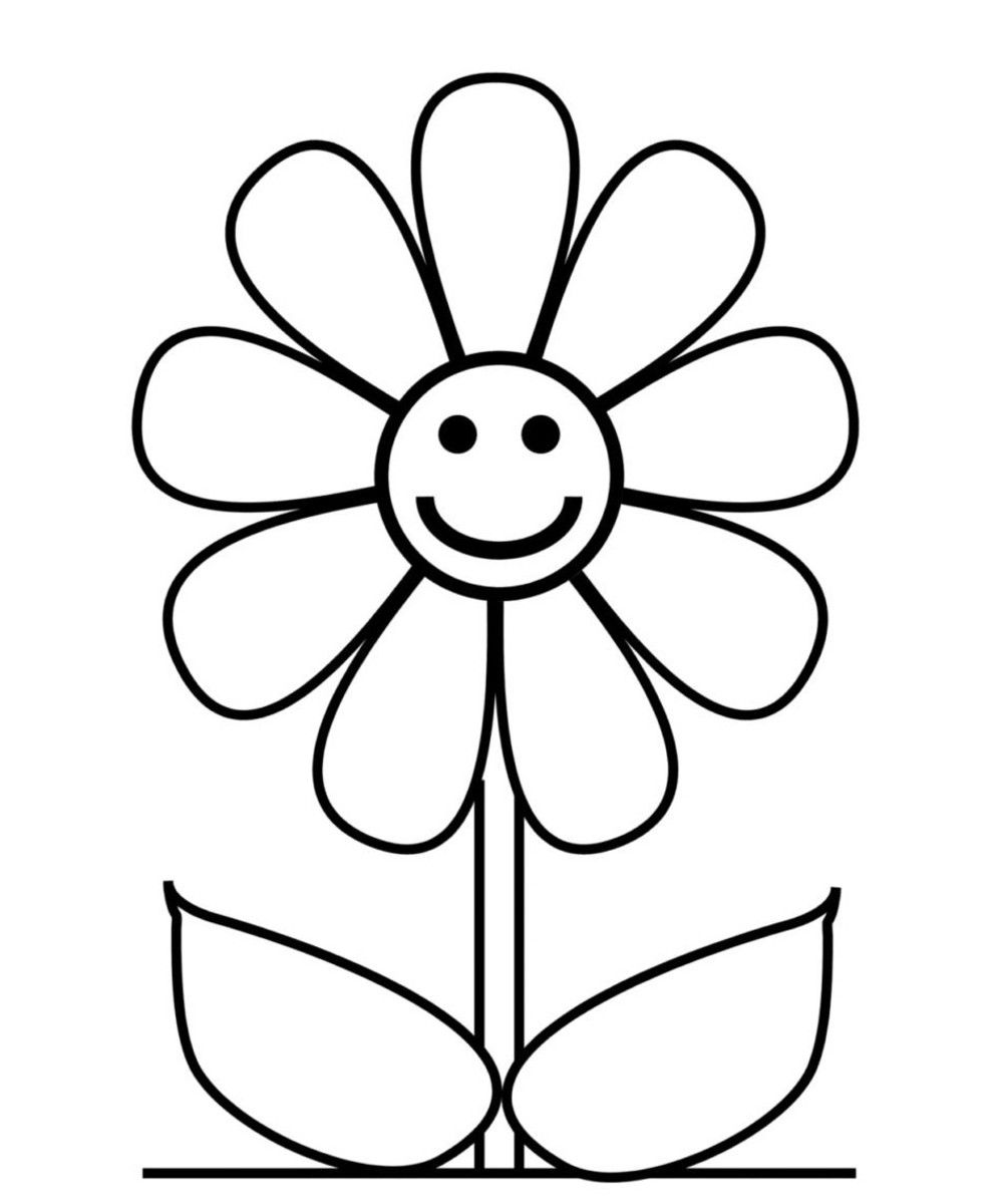 hard flower coloring pages Simple flower drawing, Easy