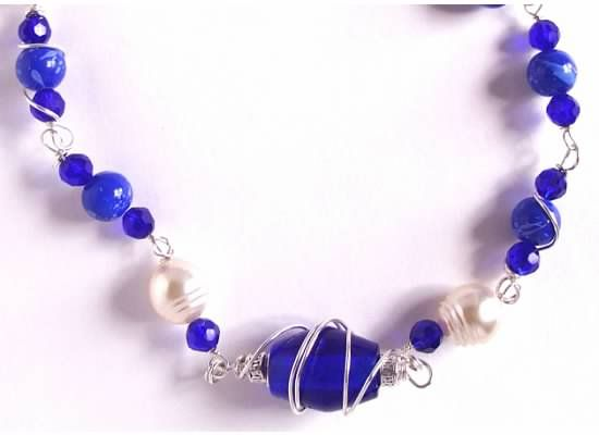Cobalt blue glass and sterling silver necklace.