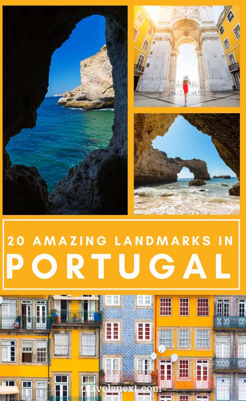 One of the most famous landmarks in Portugal. Portugal is famed for its golden sandy beaches, hidden coves and monumental castles. From its sloped cities to dense forest, here are 20 famous landmarks in Portugal to see. #portugal #lisbon #travel #europe