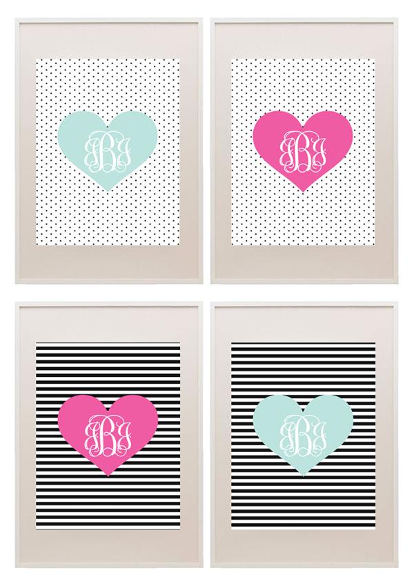 fun striped  u0026 polka dot heart monograms from printablemonogram com  freeprintable