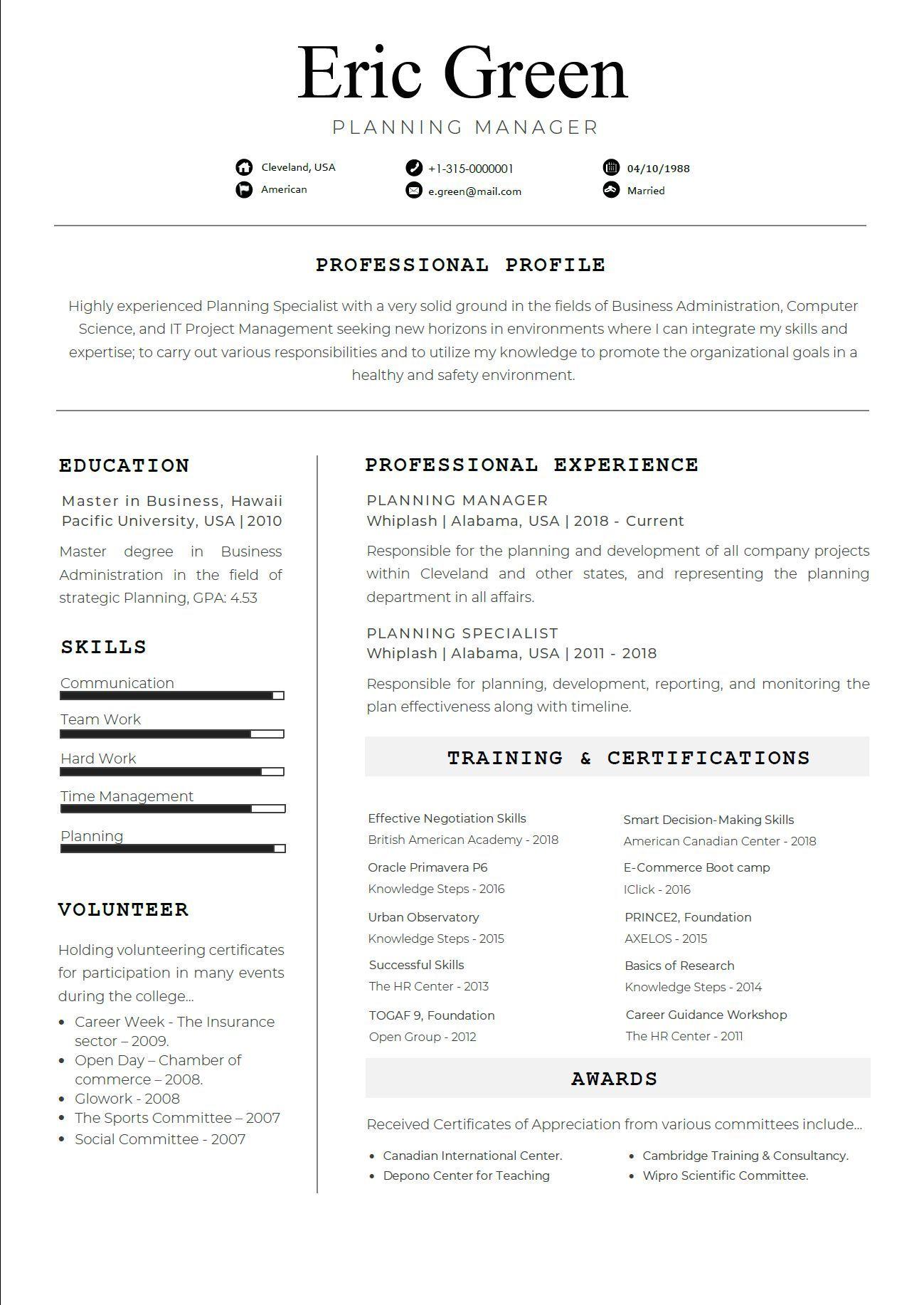 Resume template Consilio Professional Resume Template