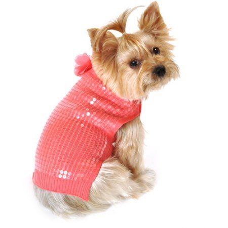 SimplyDog Sequin Summer Sweater for Dogs, Coral, (Multiple Sizes Available), Orange
