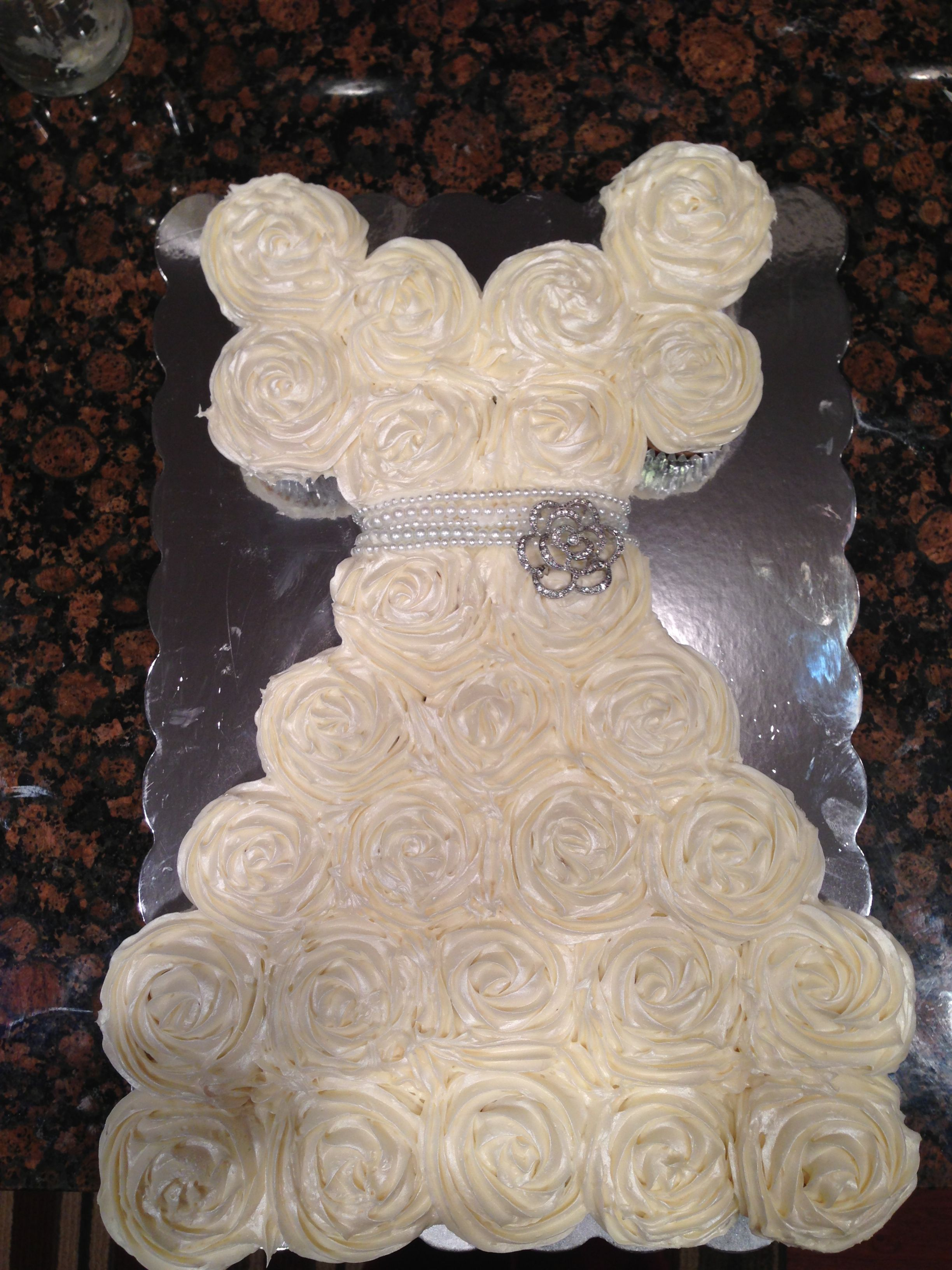 Bridal Shower Cupcake Cake Shaped like wedding dress