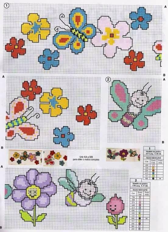 Fiori e farfalle schema baby punto croce bambino for Farfalle a punto croce