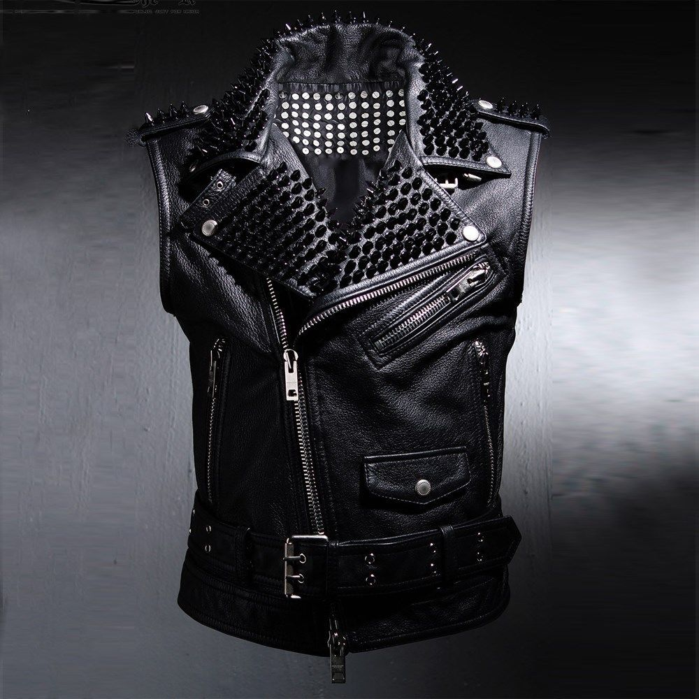 Details About Byther Men S Rock Glam Real Leather Black