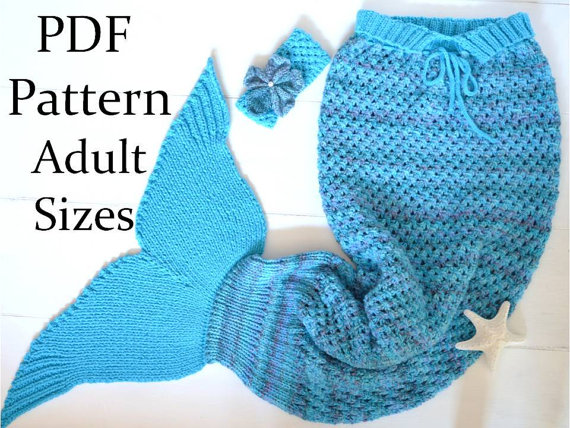 KNITTING PATTERN Mermaid Tail Blanket for Adults 4 Sizes Digital ...