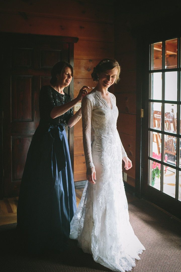 A timeless long sleeved lace wedding dress for a classic winter wedding in January | fabmood.com #winterwedding #longsleevedweddingdress