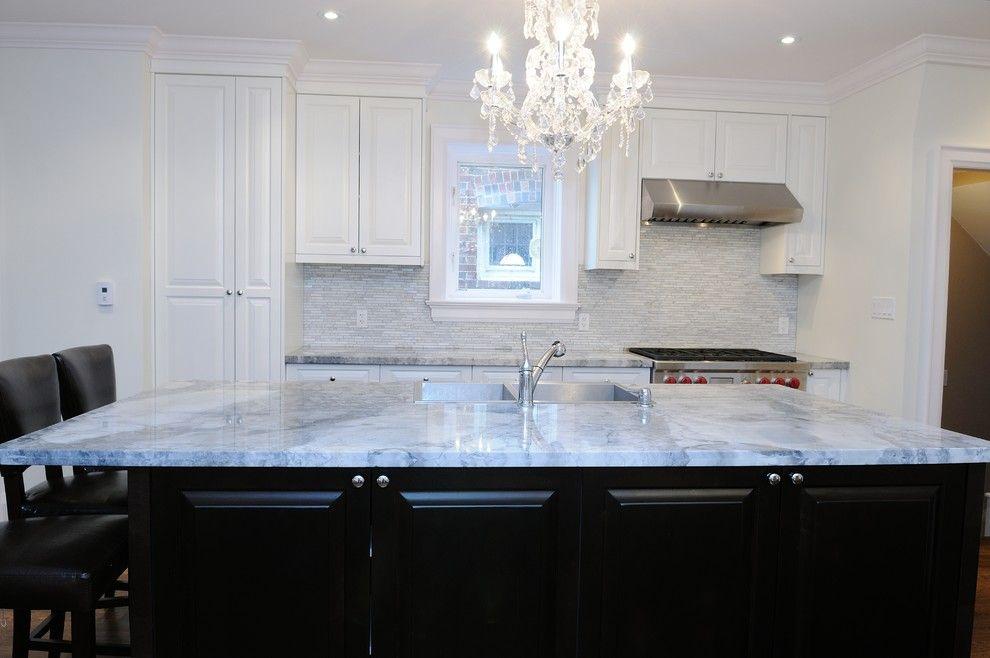 Magnificent Super White Quartzite Look Toronto Contemporary Kitchen Image  Ideas With Super White Countertops Super White