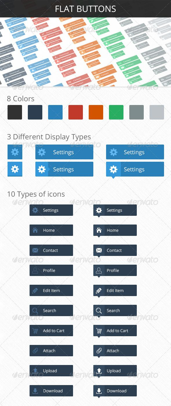 FLAT Buttons Buttons, Vector shapes, Home icon
