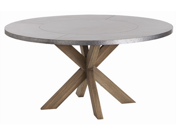 Wells Dining Table W Galvanized Steel Top 60 Inch Circular Dining Table Metal Wood Dining Table Industrial Dining Table