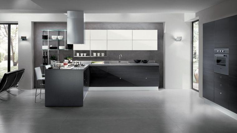 Idée Déco Cuisine Grise Pour Une Ambiance Harmonieuse Deco - Carrelage cuisine salon pour idees de deco de cuisine