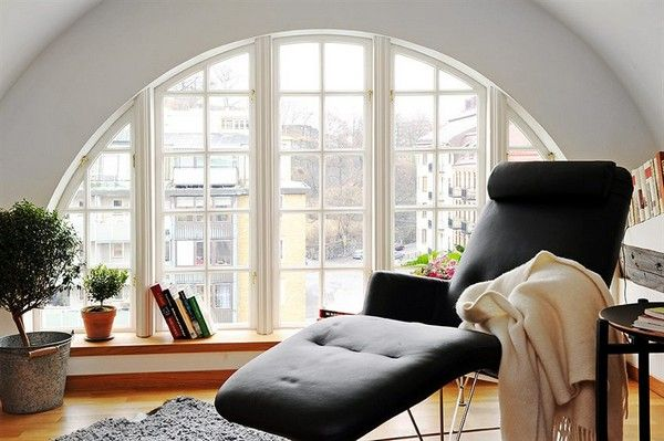 Studio Style Arch Window Creates A Warmth In The Design Unique Attic  Penthouse In Gothemburg, Sweden Features 3 Full Beds, Spacious Modern  Kitchen.