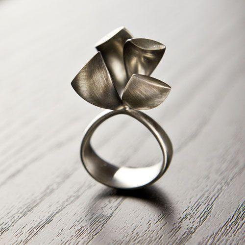 "Ring | Gustavo Delgado.  ""Bicefall"".  Silver Oxidized"