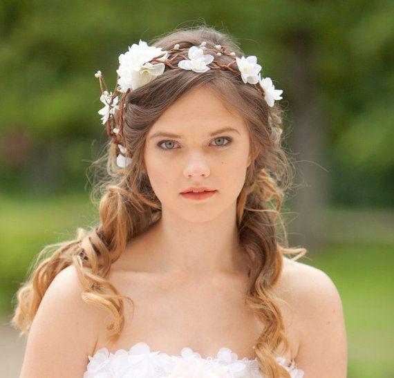 bandeau fleur mariage diad me de cheveux fleur blanche. Black Bedroom Furniture Sets. Home Design Ideas