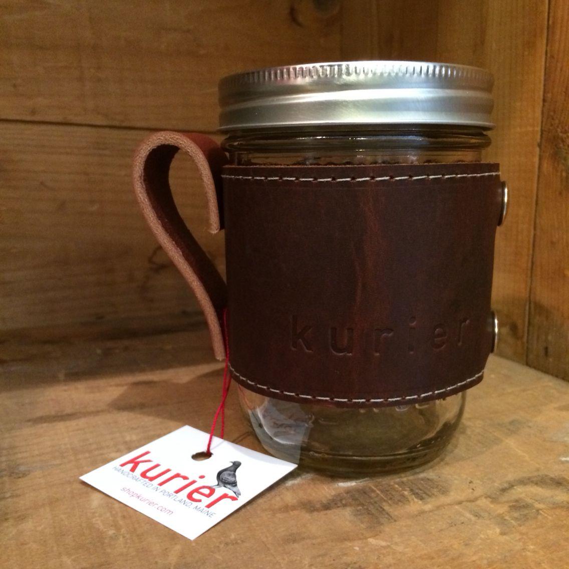 Kurier camp mug handcrafted in portland maine leather