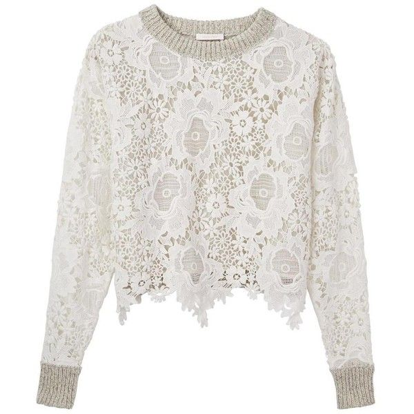 bd2ff5f5 See By Chloe Lace Sweatshirt ($490) ❤ liked on Polyvore featuring ...
