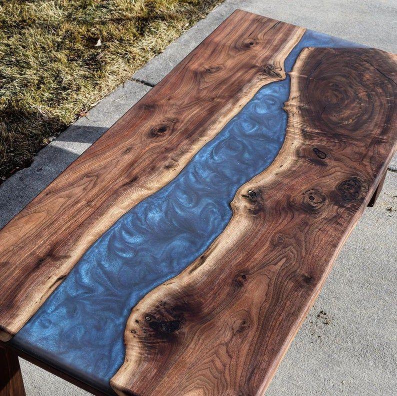 Black walnut resin river coffee table etsy coffee