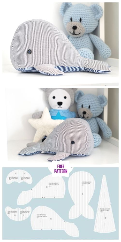 DIY Fabric Whale Plush Free Sew Patterns - Small size #bonecas