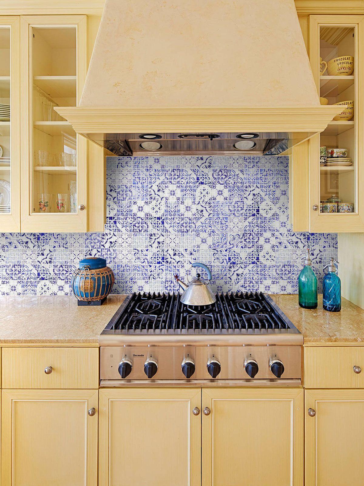 Mediterranean Style Blue Kitchen Backsplash Tile Blue Backsplash Kitchen Mosaic Tile Backsplash Kitchen Glass Mosaic Backsplash Kitchen