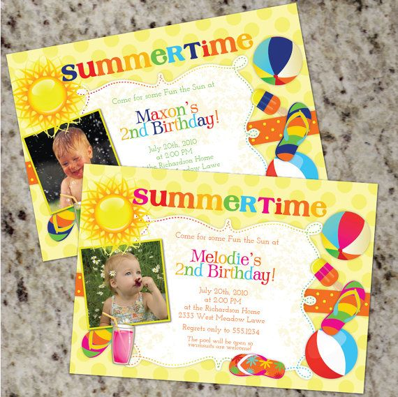 Summer party invites summer birthday party pinterest party summertime birthday party invitations for boys or girls summer theme printable design filmwisefo Choice Image