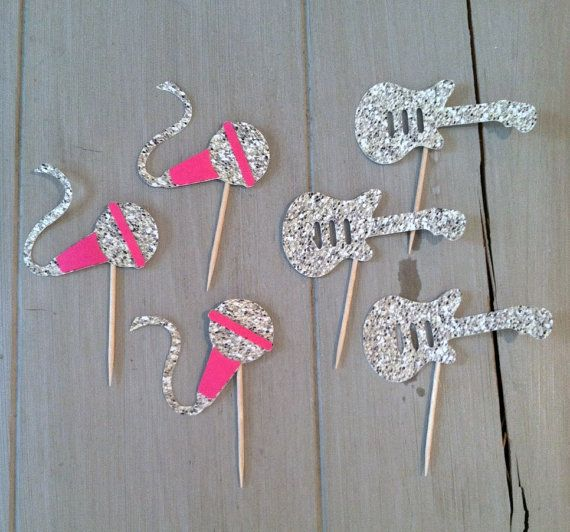 Rock Star Cupcake toppers, Guitar Cupcake Toppes, Microphone Decorations, Decorative Food Picks-Glitter Microphone and Guitar Decorations